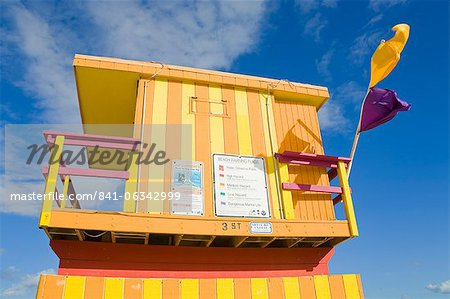 Lifeguard tower on South Beach, City of Miami Beach, Florida, United States of America, North America Stock Photo - Rights-Managed, Image code: 841-06342999