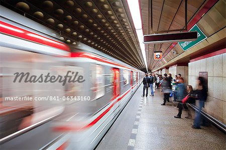 Futuristic underground Metro station decoration in Prague, Czech Republic, Europe Stock Photo - Rights-Managed, Image code: 841-06343160