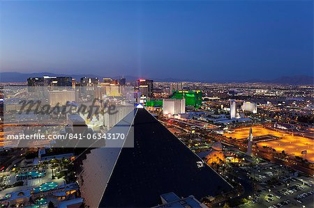 Elevated view of casinos on The Strip, Las Vegas, Nevada, United States of America, North America Stock Photo - Rights-Managed, Image code: 841-06343170