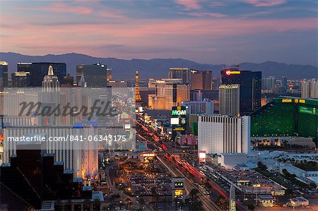 Elevated view of the hotels and casinos along The Strip at dusk, Las Vegas, Nevada, United States of America, North America Stock Photo - Rights-Managed, Image code: 841-06343175