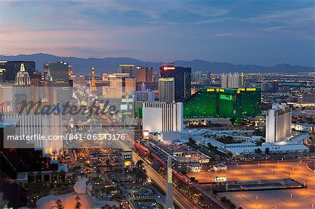 Elevated view of the hotels and casinos along The Strip at dusk, Las Vegas, Nevada, United States of America, North America Stock Photo - Rights-Managed, Image code: 841-06343176