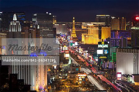 Elevated view of the hotels and casinos along The Strip at dusk, Las Vegas, Nevada, United States of America, North America Stock Photo - Rights-Managed, Image code: 841-06343195