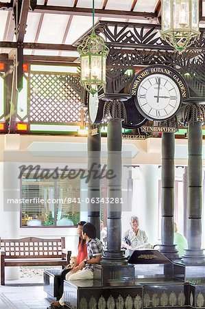 Ornate clock at the entrance pavilion, Singapore Botanical Gardens, Singapore, Southeast Asia, Asia Stock Photo - Rights-Managed, Image code: 841-06343281