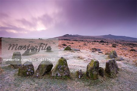 Stone circle cairn on Dartmoor, known as both the Nine Maidens and the Seventeen Brothers, Belstone Common, Dartmoor National Park, Devon, England, United Kingdom, Europe Stock Photo - Rights-Managed, Image code: 841-06343450