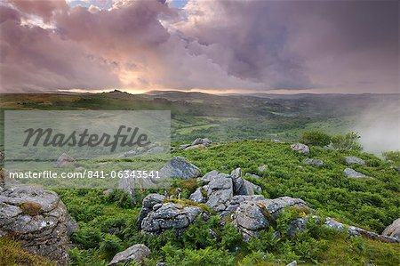 Granite rocks and bracken at Holwell Tor, looking towards Hound Tor on a stormy and misty Summer evening, Dartmoor National Park, Devon, England, United Kingdom, Europe Stock Photo - Rights-Managed, Image code: 841-06343541