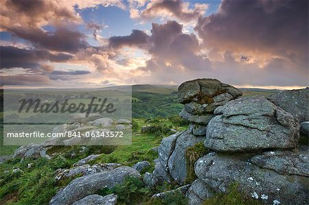 Holwell Tor on a stormy summer evening, Dartmoor National Park, Devon, England, United Kingdom, Europe Stock Photo - Rights-Managed, Image code: 841-06343572