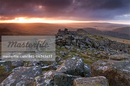 Winter sunrise viewed from Sharpitor, Dartmoor National Park, Devon, England, United Kingdom, Europe Stock Photo - Rights-Managed, Image code: 841-06343633