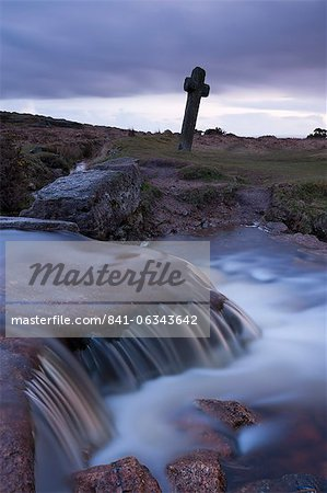 Twilight at Windy Post stone cross in Dartmoor, Devon, England, United Kingdom, Europe Stock Photo - Rights-Managed, Image code: 841-06343642