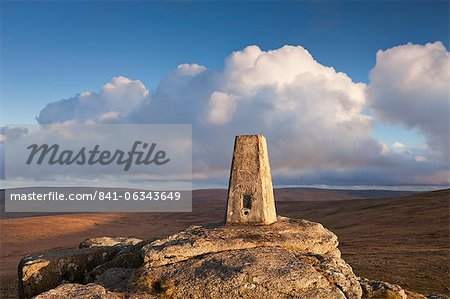 Trig Point on Yes Tor, the highest trig point in the South of Britain, Dartmoor National Park, Devon, England, United Kingdom, Europe Stock Photo - Rights-Managed, Image code: 841-06343649