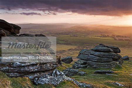 Evening sunlight over Devon countryside, viewed from Arms Tor, Dartmoor National Park, Devon, England, United Kingdom, Europe Stock Photo - Rights-Managed, Image code: 841-06343651