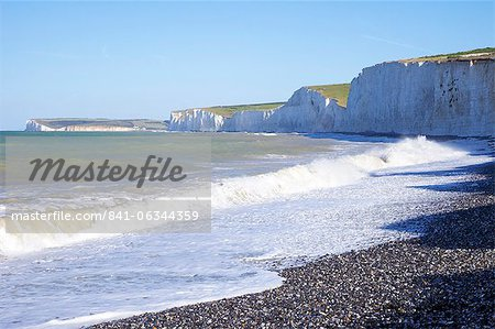 Birling Gap and chalk cliffs of the Seven Sisters, East Sussex, South Downs National Park, England, United Kingdom, Europe Stock Photo - Rights-Managed, Image code: 841-06344359