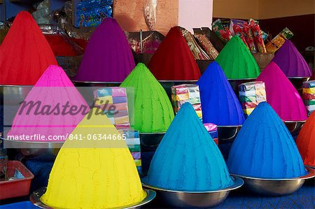 Coloured powders for sale, Devaraja market, Mysore, Karnataka, India, Asia Stock Photo - Rights-Managed, Image code: 841-06344665