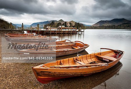 Keswick launch boats, Derwent Water, Lake District National Park, Cumbria, England Stock Photo - Rights-Managed, Image code: 841-06345355