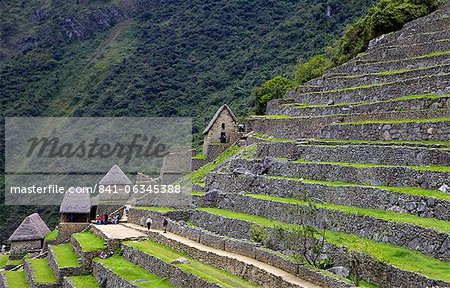 Agricultural terraces , Machu Picchu, peru, peruvian, south america, south american, latin america, latin american South America. The lost city of the Inca was rediscovered by Hiram Bingham in 1911 Stock Photo - Rights-Managed, Image code: 841-06345388