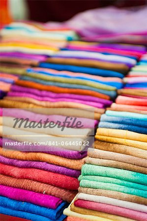 Traditional silk scarves of northern Thailand at the night market, Chiang Rai, Thailand, Southeast Asia, Asia Stock Photo - Rights-Managed, Image code: 841-06445022