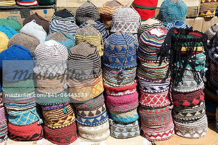 Brightly coloured knitted wool hats for sale in the souk in Marrakech, Morocco, North Africa, Africa Stock Photo - Rights-Managed, Image code: 841-06445539