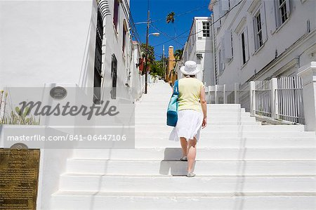 Steps to historic Kongens Quarter in Charlotte Amalie, St. Thomas Island, U.S. Virgin Islands, West Indies, Caribbean, Central America Stock Photo - Rights-Managed, Image code: 841-06447106