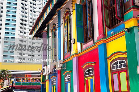 Colourful Heritage Villa, the residence of Tan Teng Niah, Little India, Singapore, Southeast Asia, Asia Stock Photo - Rights-Managed, Image code: 841-06447253