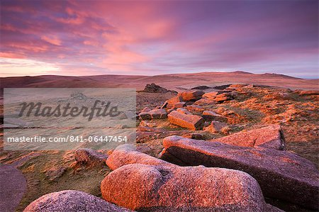 Pink dawn sky above Belstone Tor, Dartmoor National Park, Devon, England, United Kingdom, Europe Stock Photo - Rights-Managed, Image code: 841-06447454