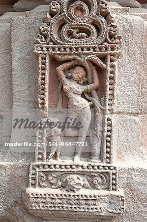 Erotic carving of woman on the 11th century Rajarani temple, known as the love temple, dedicated to Lord Shiva, Bhubaneshwar, Orissa, India, Asia Stock Photo - Rights-Managed, Image code: 841-06447791