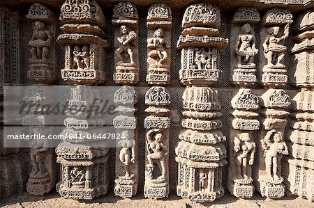 Ornate erotic carvings on Konarak Sun temple, UNESCO World Heritage Site, Konarak, Orissa, India, Asia Stock Photo - Rights-Managed, Image code: 841-06447824