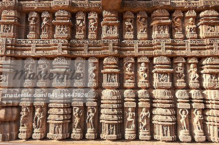 Ornate erotic carvings on 13th century Konarak Sun temple,  UNESCO World Heritage Site, Konarak, Orissa, India, Asia Stock Photo - Rights-Managed, Image code: 841-06447826