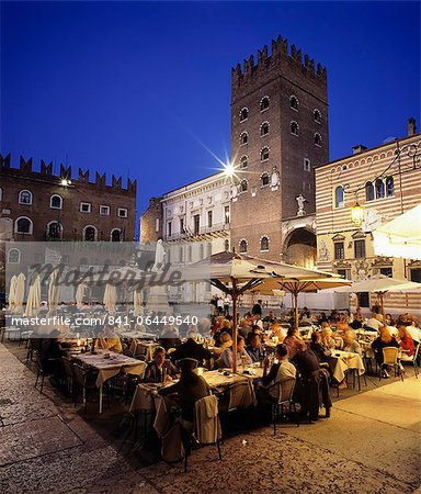 Evening dining in the old town, Verona, UNESCO World Heritage Site, Veneto, Italy, Europe Stock Photo - Rights-Managed, Image code: 841-06449540