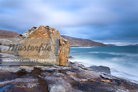 Giant Lewisian gneiss rock on a showery evening at Mealista on the south west coast of Lewis, Isle of Lewis, Outer Hebrides, Scotland, United Kingdom, Europe Stock Photo - Rights-Managed, Image code: 841-06449608