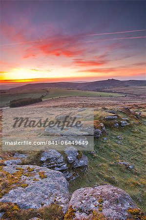 A colourful dawn on Chinkwell Tor in Dartmoor National Park, Devon, England, United Kingdom, Europe Stock Photo - Rights-Managed, Image code: 841-06449649