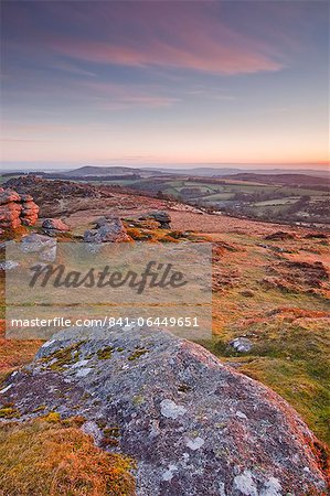 The view from Chinkwell Tor in Dartmoor National Park, Devon, England, United Kingdom, Europe Stock Photo - Rights-Managed, Image code: 841-06449651