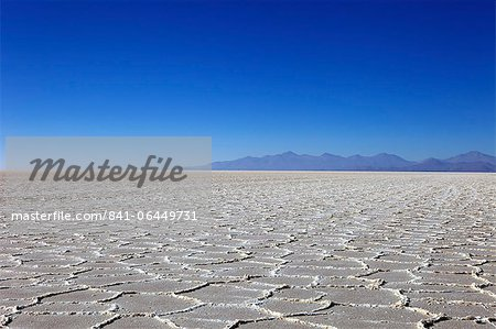 Details of the salt deposits in the Salar de Uyuni salt flat and the Andes mountains in the distance in south-western Bolivia, Bolivia, South America Stock Photo - Rights-Managed, Image code: 841-06449731