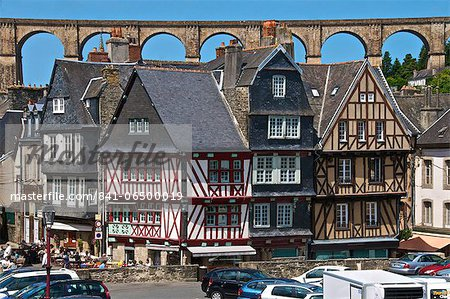 Medieval half timbered houses, with viaduct in the background, old town, Morlaix, Finistere, Brittany, France, Europe Stock Photo - Rights-Managed, Image code: 841-06500019