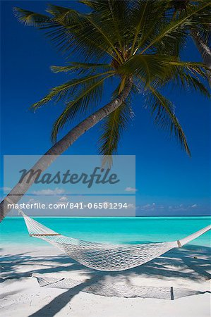 Hammock on tropical beach, Maldives, Indian Ocean, Asia Stock Photo - Rights-Managed, Image code: 841-06501294