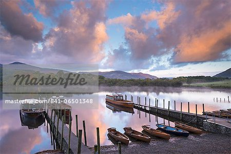 Boats on Derwent Water at sunrise, Keswick, Lake District National Park, Cumbria, England, United Kingdom, Europe Stock Photo - Rights-Managed, Image code: 841-06501348