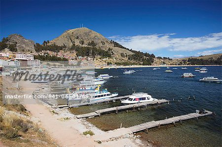 Boats moored in bay, Copacabana, Lake Titicaca, Bolivia, South America Stock Photo - Rights-Managed, Image code: 841-06501769