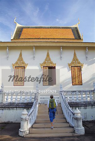 Woman at Silver Pagoda in Royal Palace, Phnom Penh, Cambodia, Indochina, Southeast Asia, Asia Stock Photo - Rights-Managed, Image code: 841-06501929