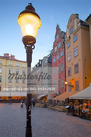 Stortorget Square cafes at dusk, Gamla Stan, Stockholm, Sweden, Scandinavia, Europe Stock Photo - Rights-Managed, Image code: 841-06502825