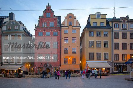 Stortorget Square cafes at dusk, Gamla Stan, Stockholm, Sweden, Scandinavia, Europe Stock Photo - Rights-Managed, Image code: 841-06502826