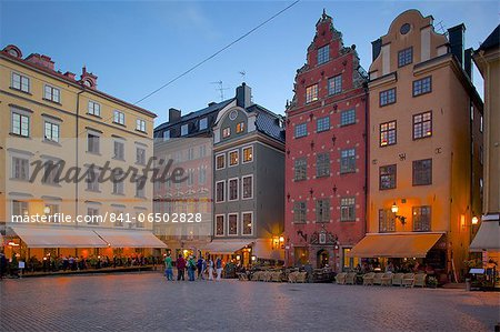 Stortorget Square cafes at dusk, Gamla Stan, Stockholm, Sweden, Scandinavia, Europe Stock Photo - Rights-Managed, Image code: 841-06502828