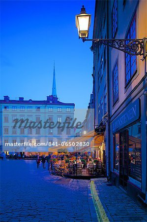 Stortorget Square cafes at dusk, Gamla Stan, Stockholm, Sweden, Scandinavia, Europe Stock Photo - Rights-Managed, Image code: 841-06502830