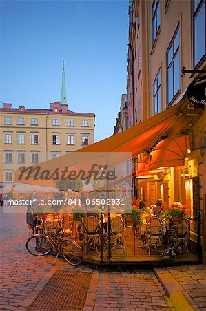 Stortorget Square cafes at dusk, Gamla Stan, Stockholm, Sweden, Scandinavia, Europe Stock Photo - Rights-Managed, Image code: 841-06502831