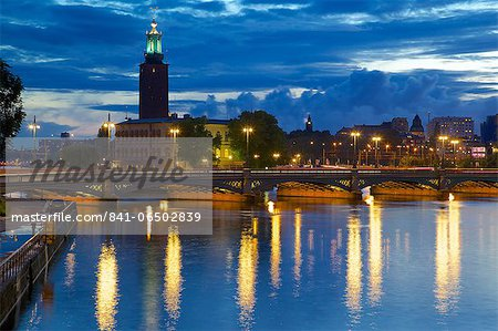 The City Hall at night, Kungsholmen, Stockholm, Sweden, Scandinavia, Europe Stock Photo - Rights-Managed, Image code: 841-06502839