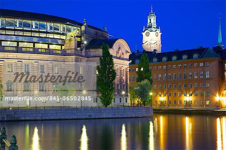 Riksdagshuset at night, Stockholm, Sweden, Scandinavia, Europe Stock Photo - Rights-Managed, Image code: 841-06502845
