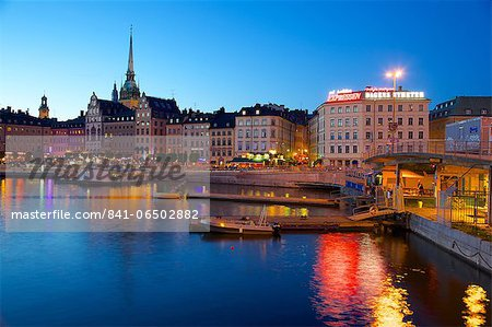 Gamla Stan at dusk, Riddarholmen, Stockholm, Sweden, Scandinavia, Europe Stock Photo - Rights-Managed, Image code: 841-06502882