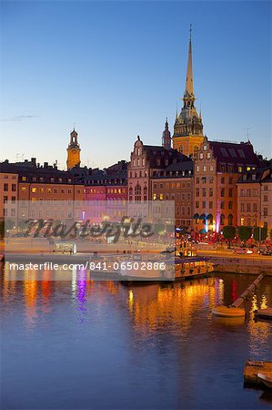 Gamla Stan and Riddarholmen with spire of Riddarholmskyrkan (Riddarholmen Church) at dusk, Stockholm, Sweden, Scandinavia, Europe Stock Photo - Rights-Managed, Image code: 841-06502886