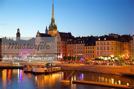 Gamla Stan and Riddarholmen with spire of Riddarholmskyrkan (Riddarholmen Church) at dusk, Stockholm, Sweden, Scandinavia, Europe Stock Photo - Rights-Managed, Image code: 841-06502887