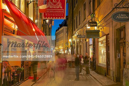 Street scene at night, Gamla Stan, Stockholm, Sweden, Scandinavia, Europe Stock Photo - Rights-Managed, Image code: 841-06502889