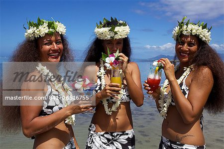 Some vahines from Tahiti Ora  in Tahiti, Society Islands, French Polynesia, Pacific Islands, Pacific Stock Photo - Rights-Managed, Image code: 841-06616755