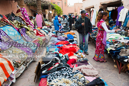 Clothes stalls in the souks of the old Medina of Marrakech, Morocco, North Africa, Africa Stock Photo - Rights-Managed, Image code: 841-06804567