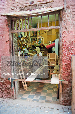 Carpenter in his workshop in the souk of Marrakech, Morocco, North Africa, Africa Stock Photo - Rights-Managed, Image code: 841-06804573